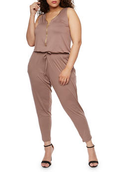 Plus Size Brushed Knit Zip Jumpsuit - MOCHA - 1392051060846