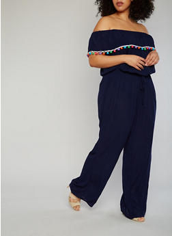 Plus Size Off the Shoulder Jumpsuit with Pom Pom Trimmed Ruffle - NAVY - 1392051060852
