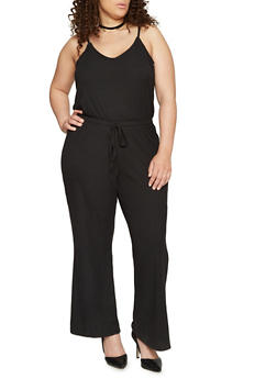 Plus Size Sleeveless V Neck Ribbed Knit Jumpsuit - BLACK - 1392051060922