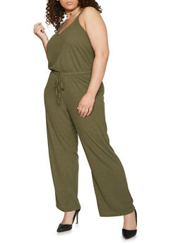 Plus Size Sleeveless V Neck Ribbed Knit Jumpsuit - OLIVE - 1392051060922
