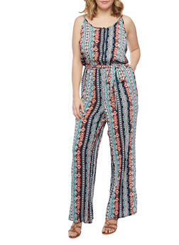 Plus Size Sleeveless Printed Jumpsuit with Sash Belt - MINT - 1392051060936