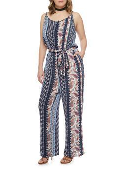 Plus Size Sleeveless Printed Jumpsuit with Sash Belt - NAVY - 1392051060936