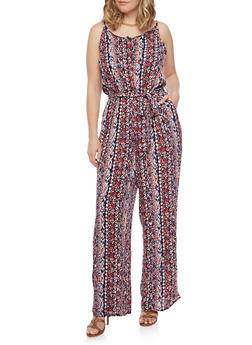 Plus Size Sleeveless Printed Jumpsuit with Sash Belt - MULTI COLOR - 1392051060936