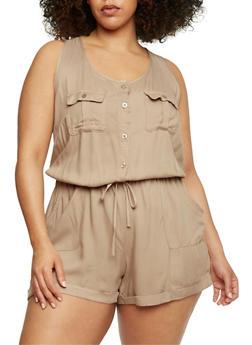 Plus Size Sleeveless Button Front Romper - KHAKI - 1392051060939