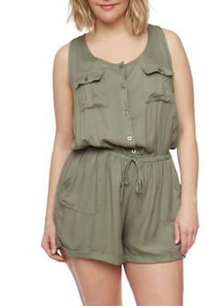 Plus Size Sleeveless Button Front Romper - OLIVE - 1392051060939