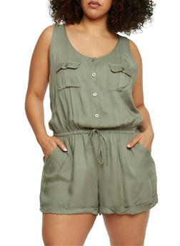Plus Size Sleeveless Button Front Romper - SAGE - 1392051060939