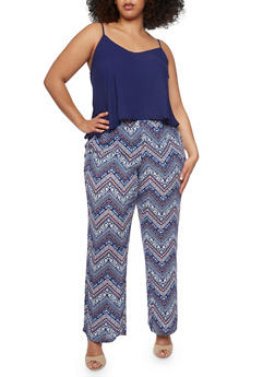 Plus Size Sleeveless Printed Jumpsuit with Chiffon Overlay - RYL BLUE - 1392051060942
