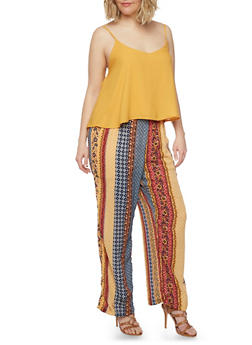 Plus Size Sleeveless Printed Jumpsuit with Chiffon Overlay - 1392051060942