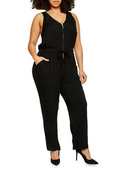 Plus Size Zippered Neck Drawstring Waist Jumpsuit - 1392051060947