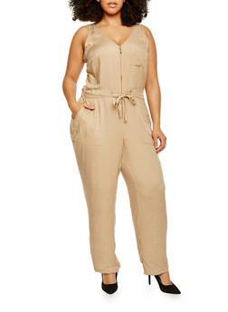 Plus Size Zippered Neck Drawstring Waist Jumpsuit - 1392051060947