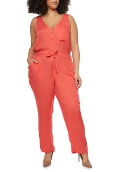 Plus Size Zippered Neck Drawstring Waist Jumpsuit - CORAL - 1392051060947