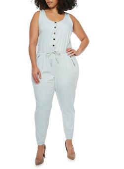 Plus Size Denim Drawstring Waist Jumpsuit - LIGHT WASH - 1392051061033