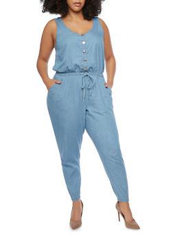 Plus Size Denim Drawstring Waist Jumpsuit - MEDIUM WASH - 1392051061033