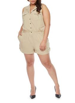 Plus Size Sleeveless Button Front Romper - KHAKI - 1392051061038