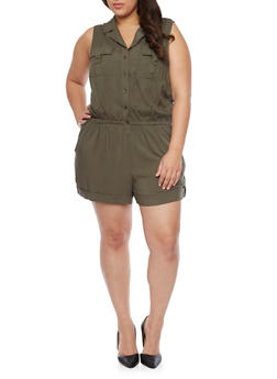 Plus Size Sleeveless Button Front Romper - OLIVE - 1392051061038