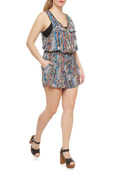 Plus Size Aztec Print Romper with Zip Neck and Pockets - 1392051061698