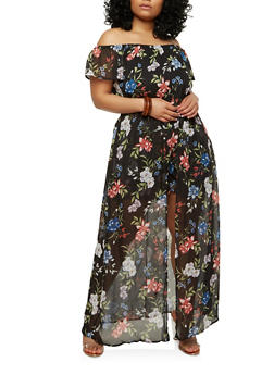 Plus Size Floral Romper with Maxi Skirt Overlay - 1392051065119