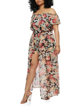 Plus Size Off the Shoulder Romper with Maxi Skirt Overlay - 1392051068119
