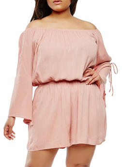 Plus Size Slit Sleeve Off the Shoulder Romper - 1392054260435