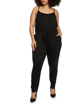 Plus Size Sleeveless Jumpsuit with Cinched Waist - BLACK - 1392054267786