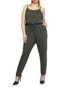 Plus Size Sleeveless Jumpsuit with Cinched Waist - CHARCOAL - 1392054267786