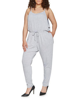 Plus Size Sleeveless Jumpsuit with Cinched Waist - 1392054267786