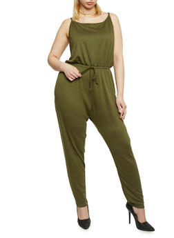 Plus Size Sleeveless Jumpsuit with Cinched Waist - OLIVE - 1392054267786