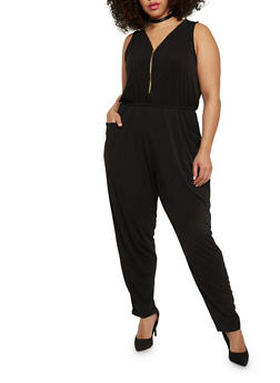 Plus Size Zip Front Sleeveless Jumpsuit - 1392054268227