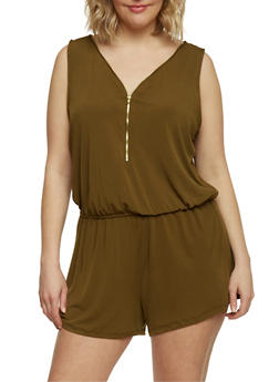 Plus Size Solid Zip Front Romper - OLIVE - 1392054268264