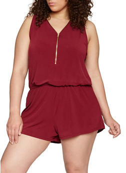 Plus Size Solid Zip Front Romper - BURGUNDY - 1392054268264