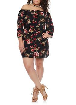 Plus Size Floral Off the Shoulder Romper - BLACK - 1392054269368