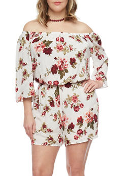 Plus Size Floral Off the Shoulder Romper - IVORY - 1392054269368