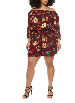 Plus Size Floral Off the Shoulder Romper - 1392054269368