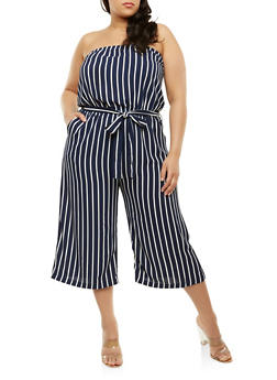 Plus Size Strapless Striped Jumpsuit - 1392054269551