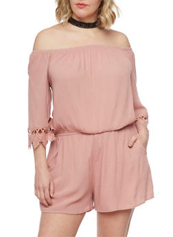 Plus Size Off the Shoulder Romper - MAUVE - 1392054269628
