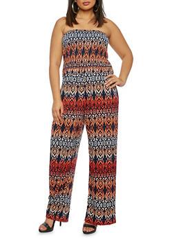 Plus Size Tube Top Jumpsuit in Arabesque Print - 1392056129081