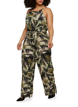 Plus Size Sleeveless Belted Palm Tree Jumpsuit - 1392056129111