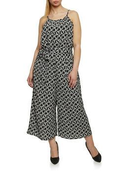 Plus Size Printed Tie Waist Wide Leg Jumpsuit - 1392056129112