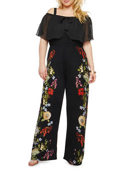 Plus Size Floral Print Off the Shoulder Jumpsuit - 1392056129122