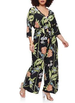 Plus Size Floral Leaf Faux Wrap Jumpsuit - 1392056129132