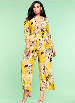 Plus Size Floral Jumpsuit - 1392056129133