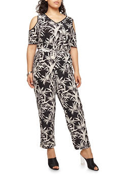 Plus Size Tropical Print Cold Shoulder Jumpsuit - 1392056129186