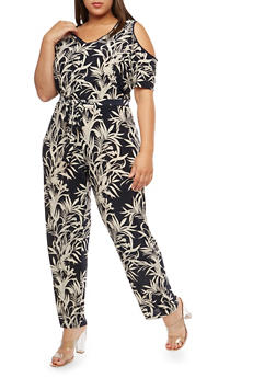 Plus Size Tropical Print Cold Shoulder Jumpsuit - 1392056129186