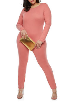 Plus Size Long Sleeve Catsuit - 1392058752591