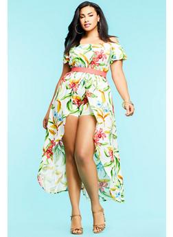 Plus Size Floral Maxi Romper - 1392058753488