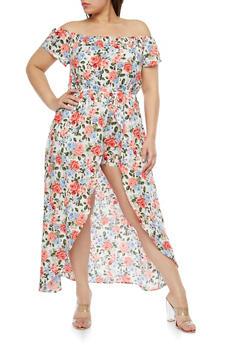 Plus Size Floral Maxi Romper - 1392058753489