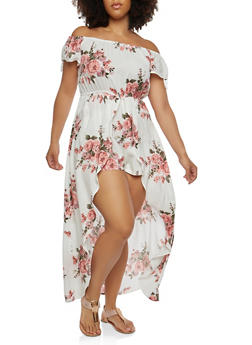 Plus Size Off the Shoulder Romper with Maxi Skirt Overlay - 1392058753490