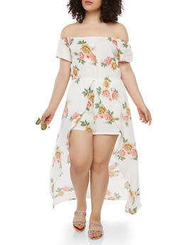 Plus Size Floral Romper with Maxi Skirt Overlay - 1392058753491