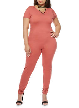 Plus Size Short Sleeve Scoop Back CatSuit - 1392058930812