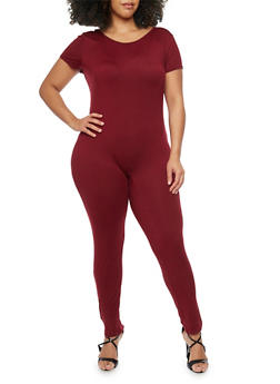 Plus Size Short Sleeve Scoop Back CatSuit - BURGUNDY - 1392058930812
